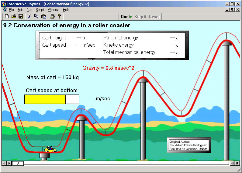 Simulate roller coaster physics, and conservation of energy, with Interacti