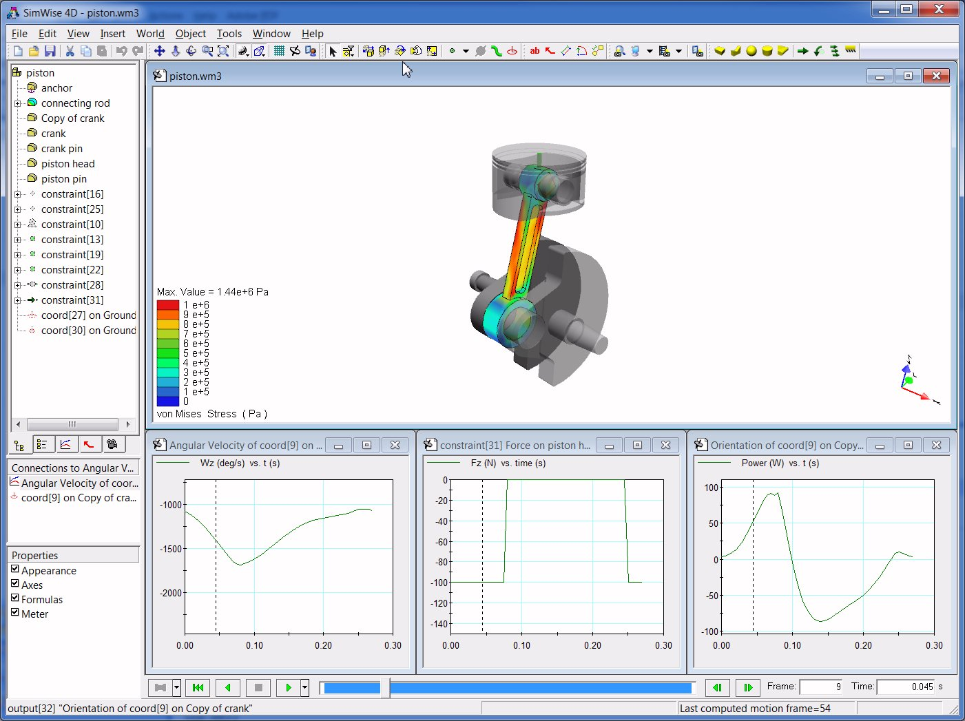 Mechanical engineering gim mechanism software (kinematics.